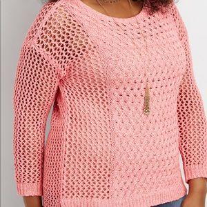 "Maurice's Size 0 ""fuschia flash"" open knit sweater"